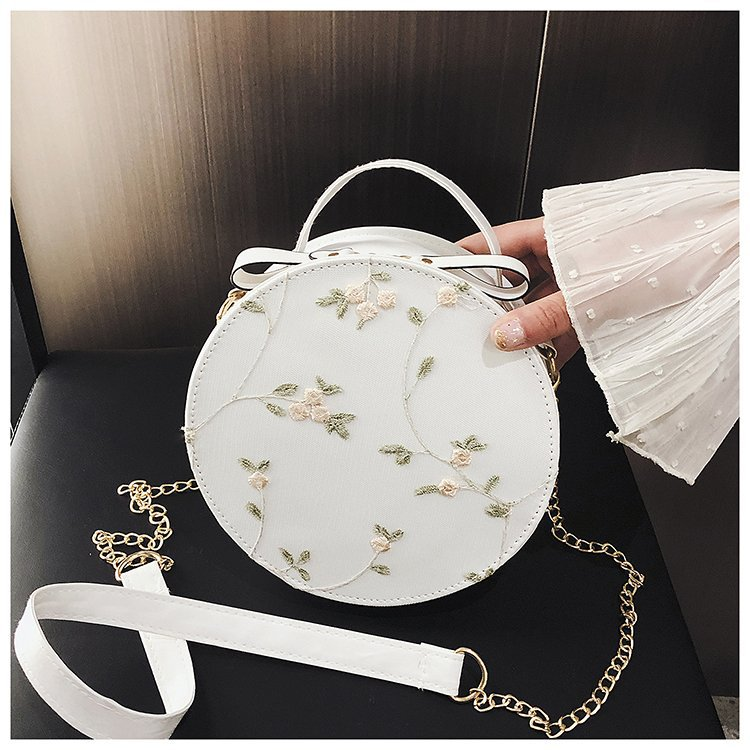2019 Hot Sale Sweet Lace Round Handbags High Quality PU Leather Women Crossbody Bags Female Small Fresh Flower Chain Shoulder