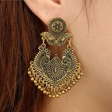 2019 Top Indian Jhumka Gypsy Jewelry Silver Color Boho Vintage Ethnic Womens Earrings Hollow Water Drop For Women