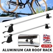 цена на 1 Pair 137cm Aluminium Car Top Roof Cross Bars Rack Luggage Cargo Carrier Roof Rack Crossbars Fit for Most Flat Top Car