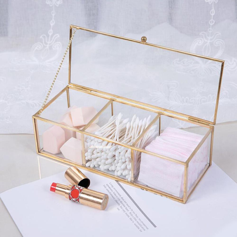 תיבת אחסון לאיפור כולל מכסה לסגירה - צבע זהב 1