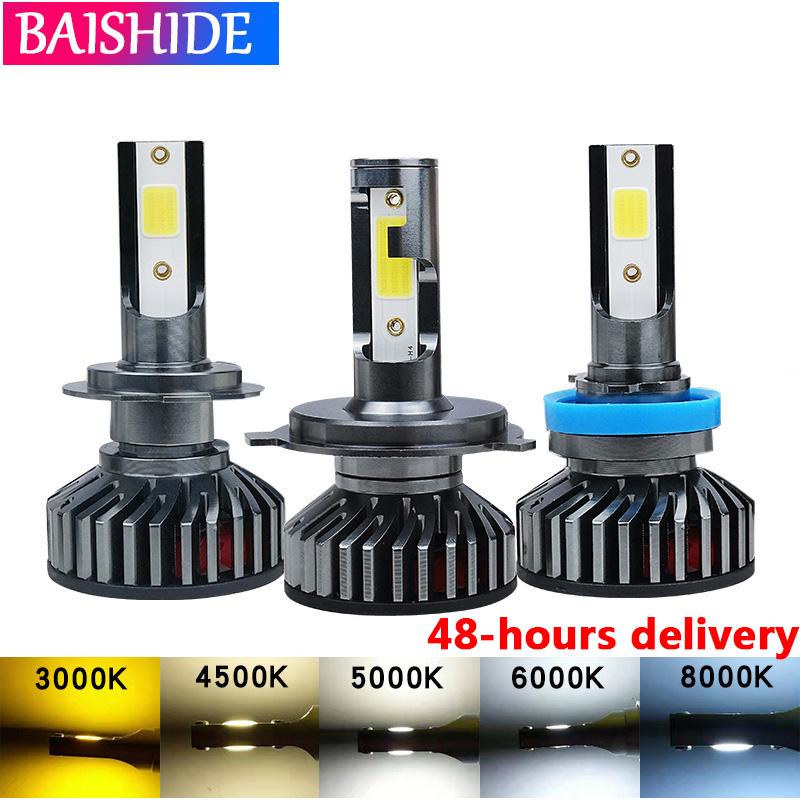 BAISHIDE Car Headlight H7 LED H4 H1 H11 LED H3 H13 9006 9007 60W 8000LM 6500K 8000K 5000K  12V Auto Headlamp COB Fog Light Bulb