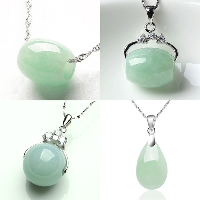 Natural Emerald Jadeite Lucky Bead Pendant Necklace Charm Jewellery Fashion Accessories Hand-Carved Man Woman Luck Amulet