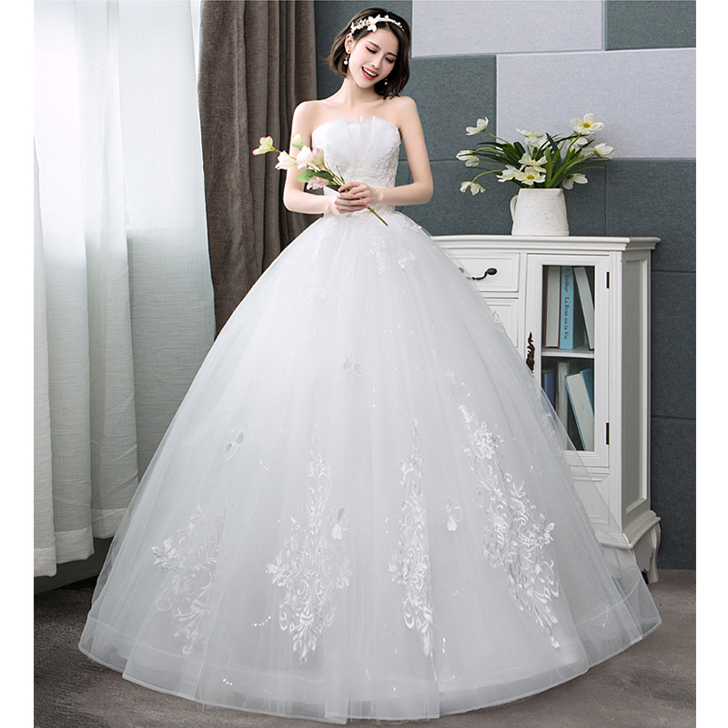 Wedding Dresses Backless Tube Top A Line Lace Flower Sweet Heart Fashion Fantasy Sexy Bridal Dress