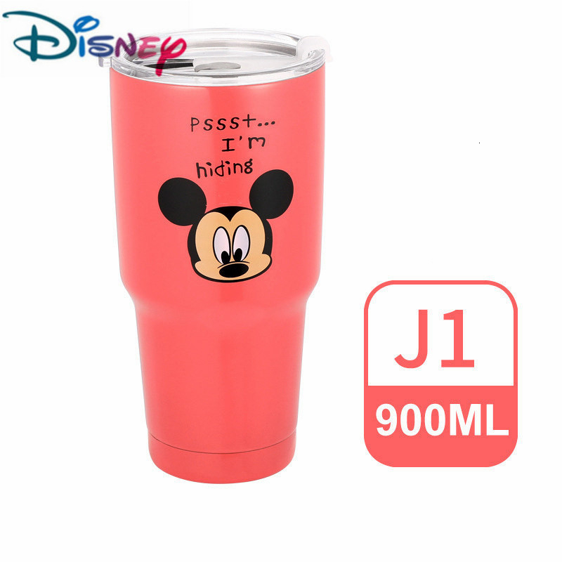 Disney Mickey Mouse Cartoon Stainless Steel Water Bottle Car Cup Sealing Cap Straw Cup Kettle Beer Mug Icemaster Cup