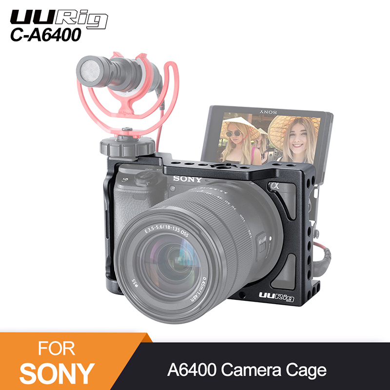 UURig Metal Camera Cage For Sony Alpha A6400 A6300 A6100  Hand Grip Camera Rig  DSLR Camera Accessories