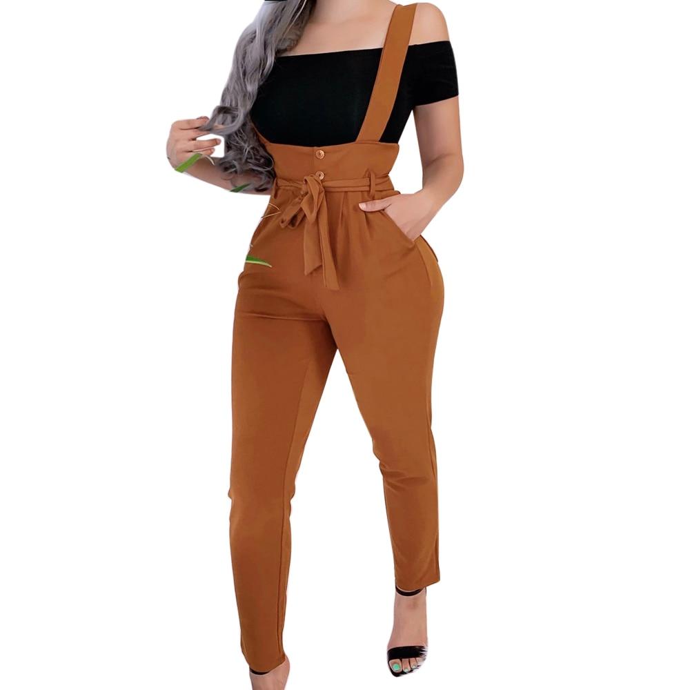 MoneRffi 2020 Women Long Pants Bandage Design Button Pockets Decor High Waist Pencil Pants Lady Slim Hips Shoulder Straps Pants