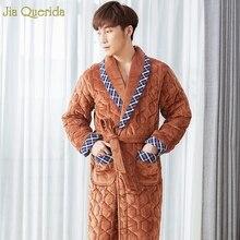 Длинная Ночная рубашка для мужчин плюс размер бархатный банный халат-кимоно зимний мужской Халат толстый мягкий длинный рукав тиснение Мужская Пижама Халат