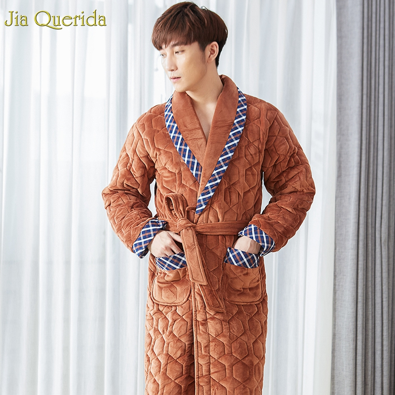 Long Nightdress Men Plus Size Velvet Kimono Bath Robe Winter Men's Robe Thick Padded Long Sleeve Embossing Mens Pajama Bathrobe