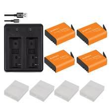 4 pièces 1350mAh PG1050 SJ4000 PG900 batterie + chargeur Double USB Pour SJCAM SJ5000 SJ6000 SJ8000 M10 EKEN 4K H8 H9 GIT-LB101 batteries