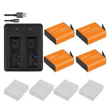4 Stuks 1350Mah PG1050 SJ4000 PG900 Batterij + Usb Dual Charger Voor Sjcam SJ5000 SJ6000 SJ8000 M10 Eken 4K H8 H9 GIT-LB101 Batterijen