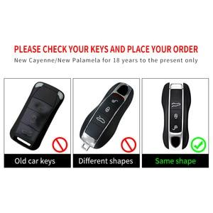Image 4 - אבץ סגסוגת חכם מפתח מקרה כיסוי מרחוק מחזיק מעטפת 3 כפתורי תיק Keychain עבור פורשה Panamera 17 +, קאיין 2018 +