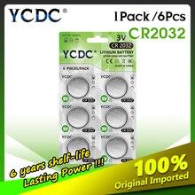 Baterias da pilha da pilha do botão de lítio br2032 dl2032 ecr2032 cr2032 5004lc kcr2032 de ycdc 6 pces 3v cr 2032 para brinquedos do relógio
