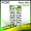 YCDC 6pcs 3V CR 2032 Lithium Button Cell Battery BR2032 DL2032 ECR2032 CR2032 5004LC KCR2032 Coin Cell Batteries For Watch Toys