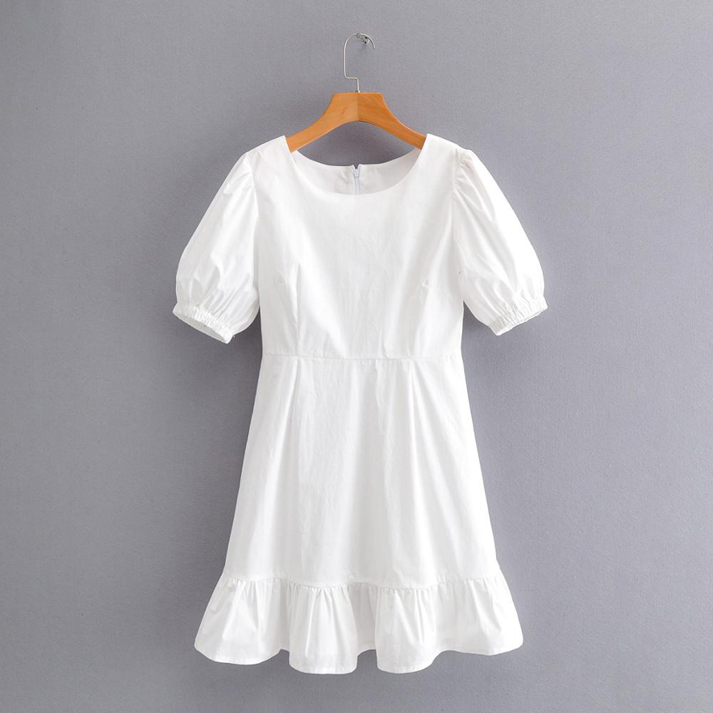2020 Women Vintage O Neck Puff Sleeve Pleated Ruffles White Mini Dress French Style Solid Vestidos Femme Casual Dresses DS3604