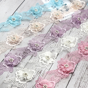 H692 Pearl Flower Organza Lace Trim trimmings Knitting Wedding Lace Embroidered DIY Patchwork Ribbon Sewing Supplies Craft