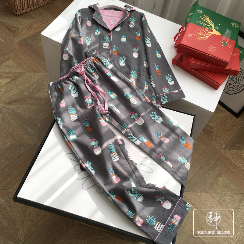A Generation Of A Single Set Of Boxed Cute Printed Long Sleeve Pajamas Women's Two-Piece Set Home Pajamas Set Entity