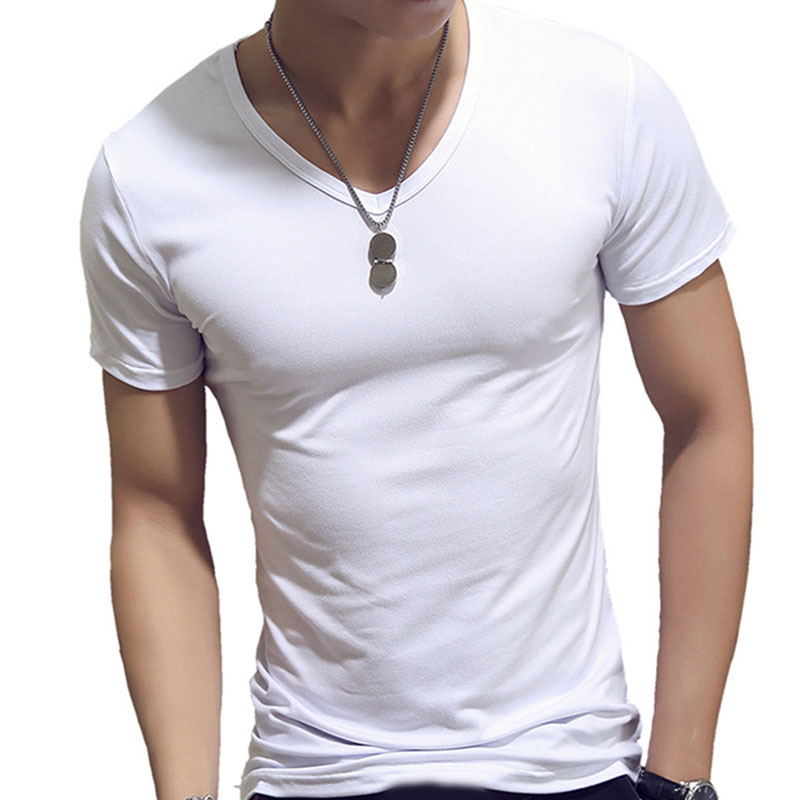 Men T Shirt Fashion Fitness V Neck Short Sleeve T Shirt Summer Casual Gym Solid Color Tops Plus Size Slim Polyester T Shirts