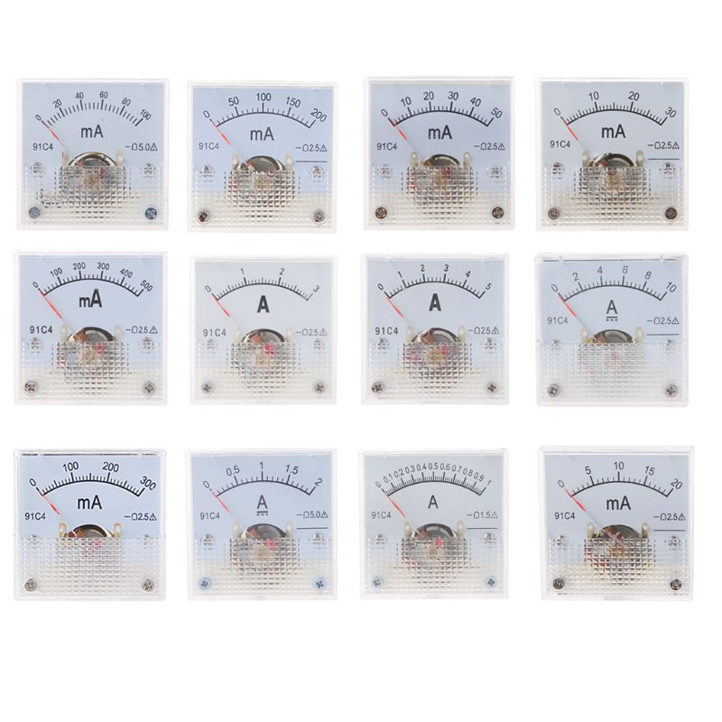 91C4 Ammeter DC Analog Current Meter Panel Mechanical Pointer Type 1/2/3/5/10/20/30/50/100/200/300/500mA A