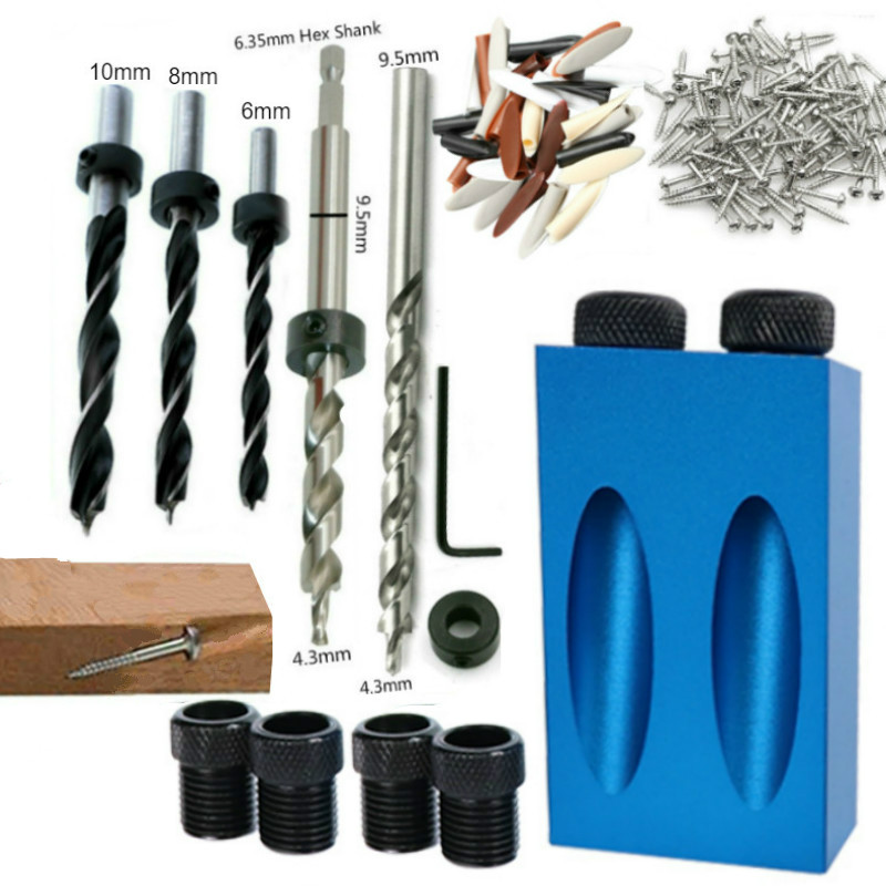 Drill Bits Drill Guide Set  Woodworking Doweling Jig   Locator  Hole Puncher