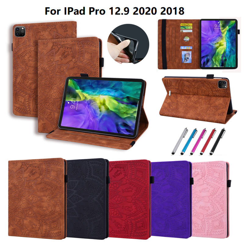 4th 3D For Embossed Generation Pro iPad Folding 2020 Leather Flower 12.9 Cover Case