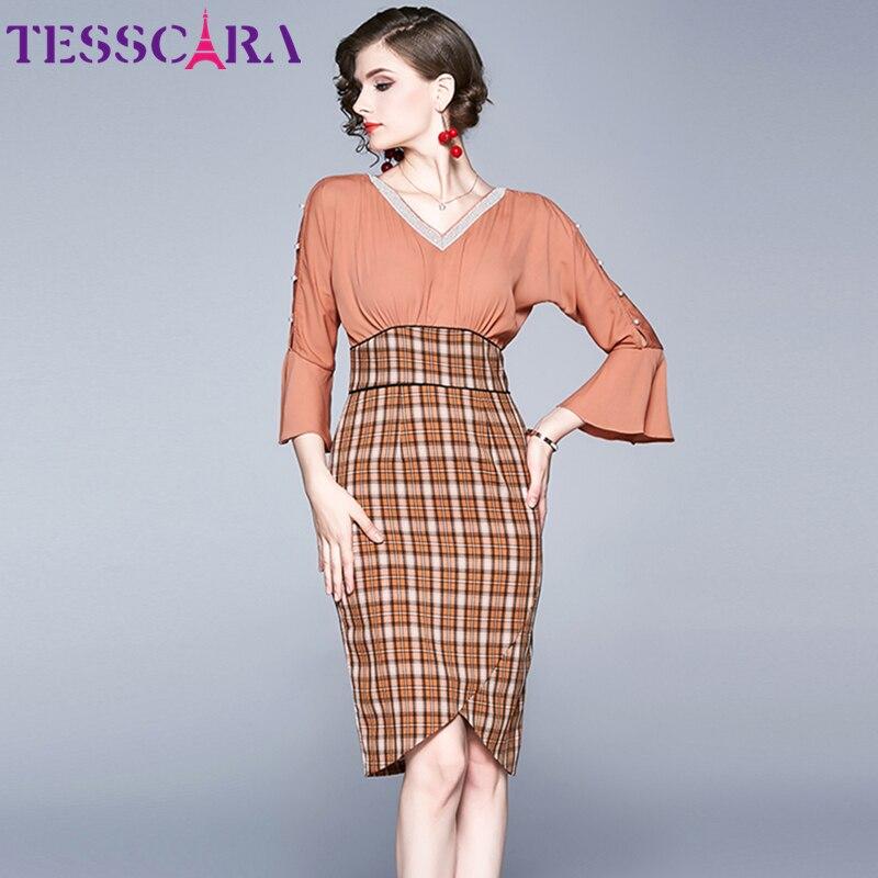 TESSCARA Women Autumn Elegant V-Neck Dress Female Cocktail Party Robe High Quality Beading Designer Office Plaid Pencil Vestidos