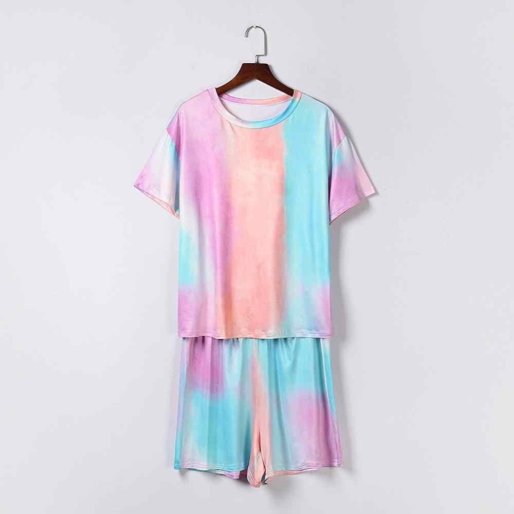 Womens Tie Dye Gedrukt Ruffle Korte Pyjama Set Lange Mouw Tops En Shorts Pj Set Loungewear Nachtkleding Nachtkleding Plus Size