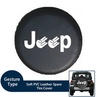 Soft PVC Leather Spare Tire Cover Waterproof Fingers Type RV Wheel Case for Jeep LAND ROVER SUV Fits 29 to 33 Tire Diameters