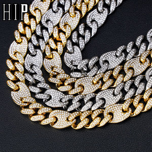 Hip Hop Bling AAA+ Iced Out Alloy Rhinestones Coffee Bean Miami Cuban Link Chain Necklace For Men Jewelry