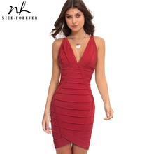 Nice Forever Sexy Slim Deep V neckine Women Club fitted vestidos Party Bodycon Sheath Women Dress U810