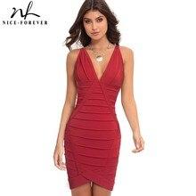 Nice Forever vestido ajustado Sexy para mujer, vestido ajustado con escote profundo en V para fiesta U810