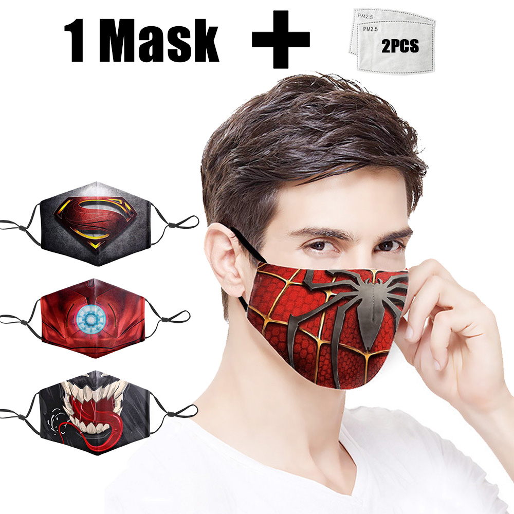 Fashion Marvel Printing Mouth Mask Reusable Washable PM2.5 Filter Adult Mouth Mask Dust Face Masks Anti Bacteria Proof Flu Mask