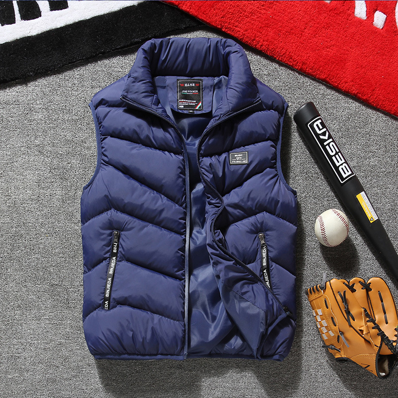 Mens Winter Vest Plus Size 7XL 8XL Fashion Casual Thick Warm Cotton-padded Coats Vest Stand Sleeveless Jacket Autumn Chaleco