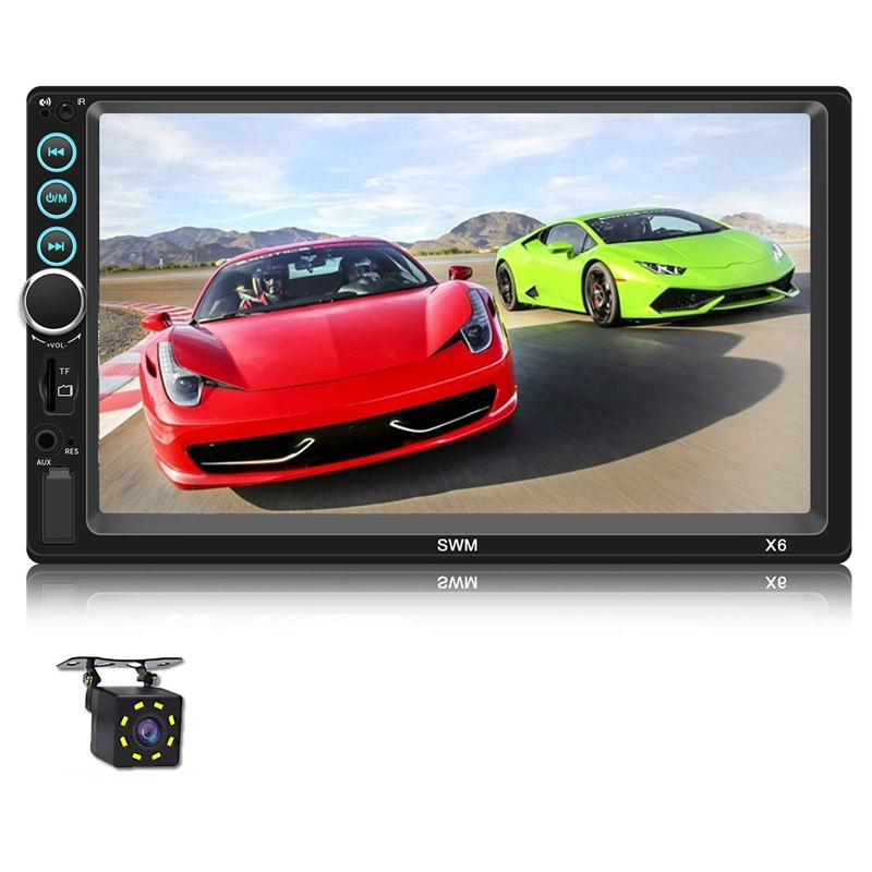 Autoradio Double Din de 7 pouces avec Bluetooth Headunit TF USB FM Radio auxiliaire Audio Pressscreen MP5 lecteur récepteur Support miroir