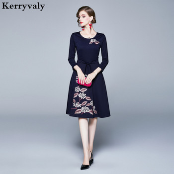 Autumn Retro Blue Floral Midi Embroidery Dress  Ropa Mujer Verano 2021 Elegant Women Party Shirt Dress Robe Pull K6993 недорого