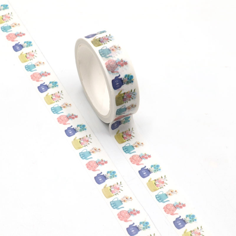 NEW 1pc Spring Flowers Potted Plant Washi Tape Kawaii Scrapbooking Tool Adhesive Masking Tape Photo Album Diy Decorative Tape