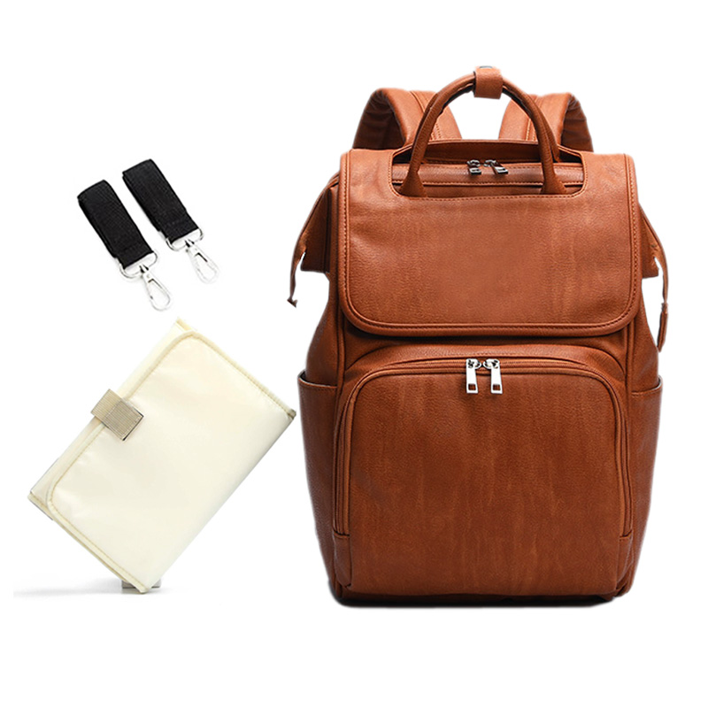 Large PU Leather Diaper Bag Backpack For Mom In Brown Stroller Organizer Bags Maternity Travel Baby Nappy Bags  Panaleras