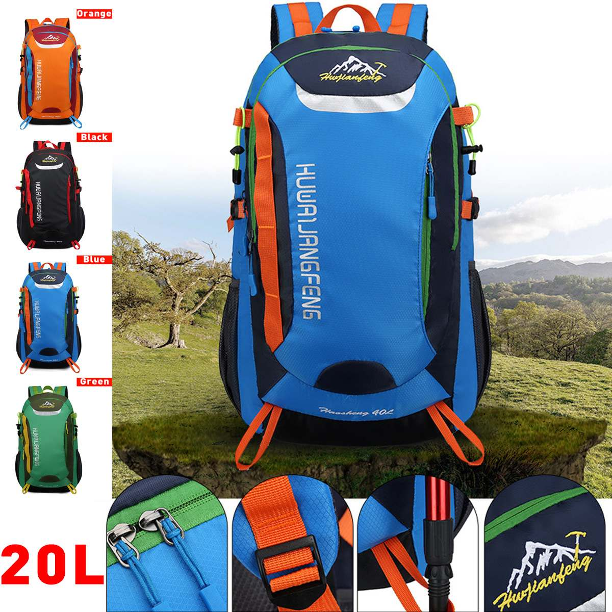 20L Outdoor Sports Mountaineering Backpack Camping Hiking Trekking Rucksack Travel Waterproof Cover Bike Bags For Women Men