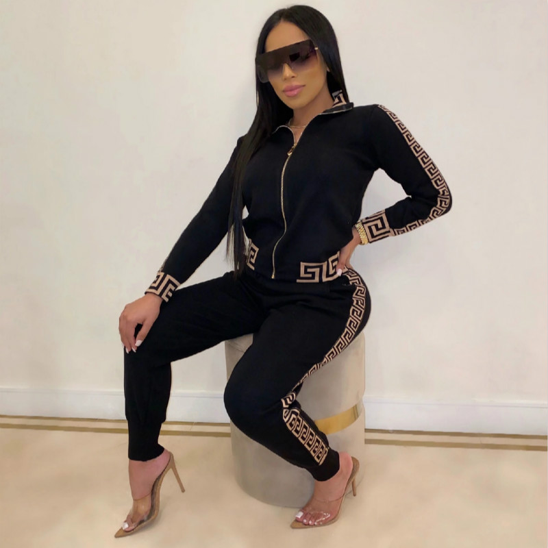 Fashion Casual Tracksuit Two Piece Set Women 2020 Spring Autumn New Long Sleeve Printed Stitching Sweatsuit Women Two Piece