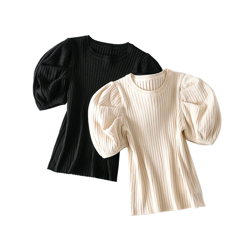 Tangada Korea Chic Women Summer Sweater Puff Short Sleeve Vintage Ladies Knitted Jumper Tops AI03