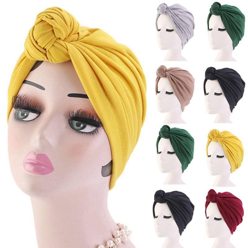 2020 Women Turban Bonnet Soild Color Cotton Top Knot Turban Caps African Twist Headwrap Ladies Head Wraps India Hat Chemo Cap
