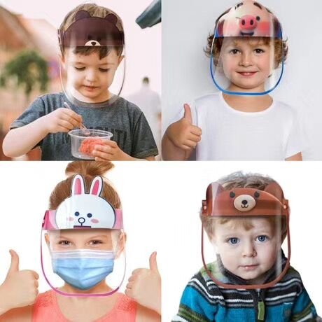 2020 Face Shield Cartoon Boys Girls Clear Anti-fog Masks Dust-proof Protective Visor Full Face Cute Children Anti-Dust Kids Face