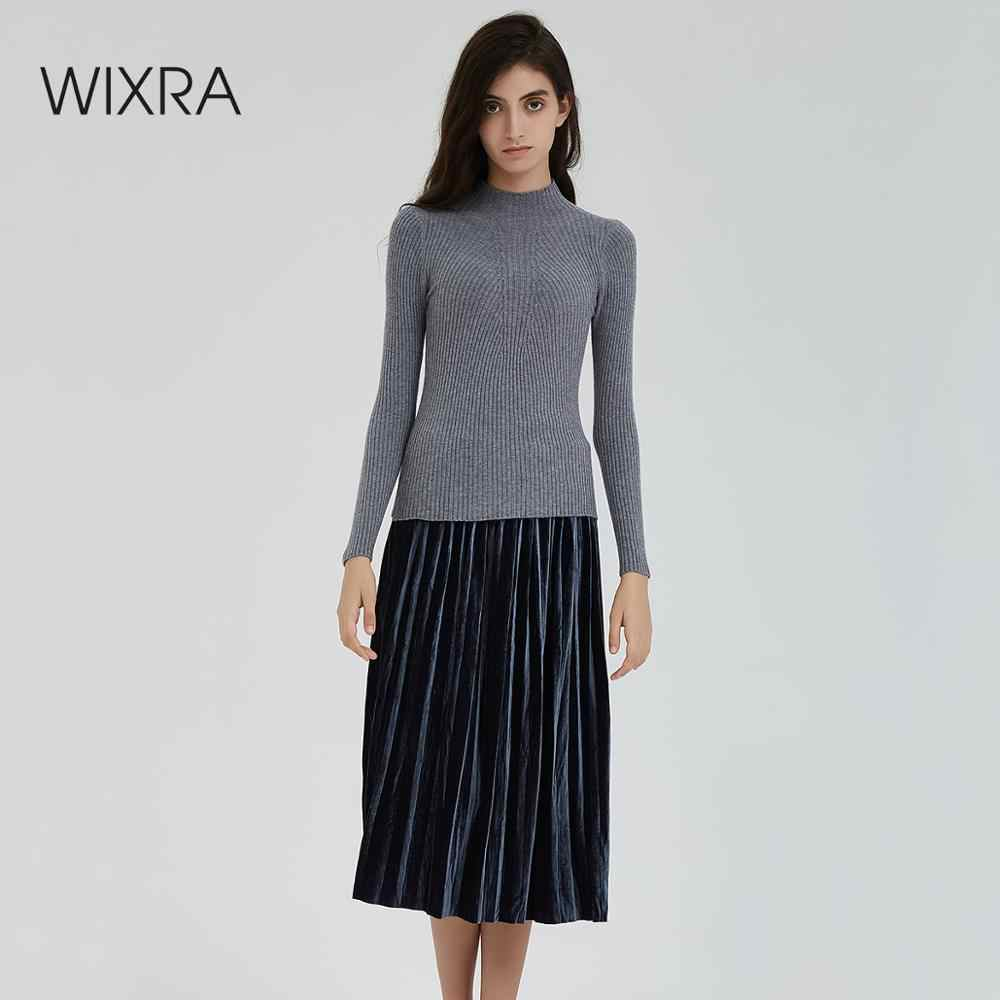 Wixra New Hot Warm Knitted Turtleneck Sweater Fashion Women Autumn Winter High Stretch Long Sleeve Sweaters Pullovers Jumpers