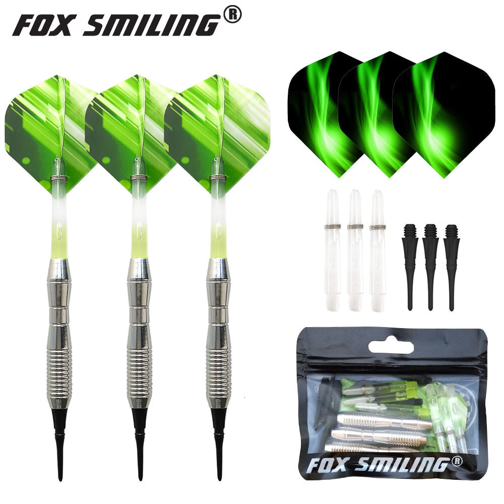 Fox Smiling 3PCS 17g Professional Electronic Soft Tip Darts With Shafts Tips Flights Set Dardos Accessories Green