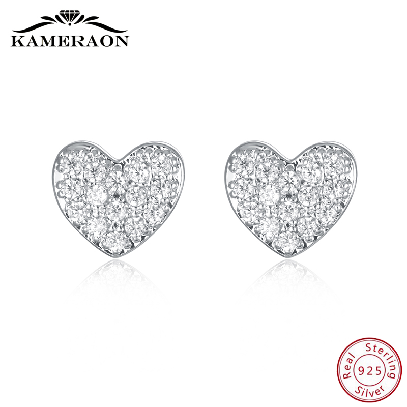 925 Sterling Silver Stud Earrings With Cubic Zirconia Hearts Korea Women's Fashion Jewelry Cute Shiny Beautiful Small Earrings