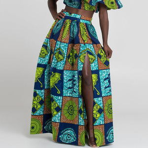 Image 3 - 2020 Women African Dashiki Elastic Autumn Winter Summer Maxi Beach Skirt Floral Print High Waist Pleated Floor Length Long Skirt