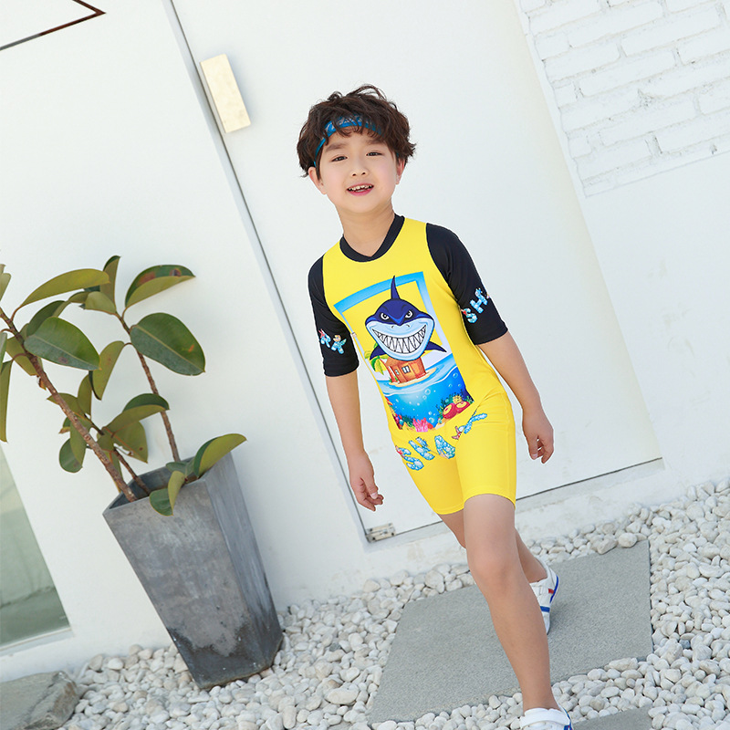 2018 New Style Hot Sales One-piece One-Piece Zipper Crew Neck Cartoon Shark Pattern Male Baby KID'S Swimwear