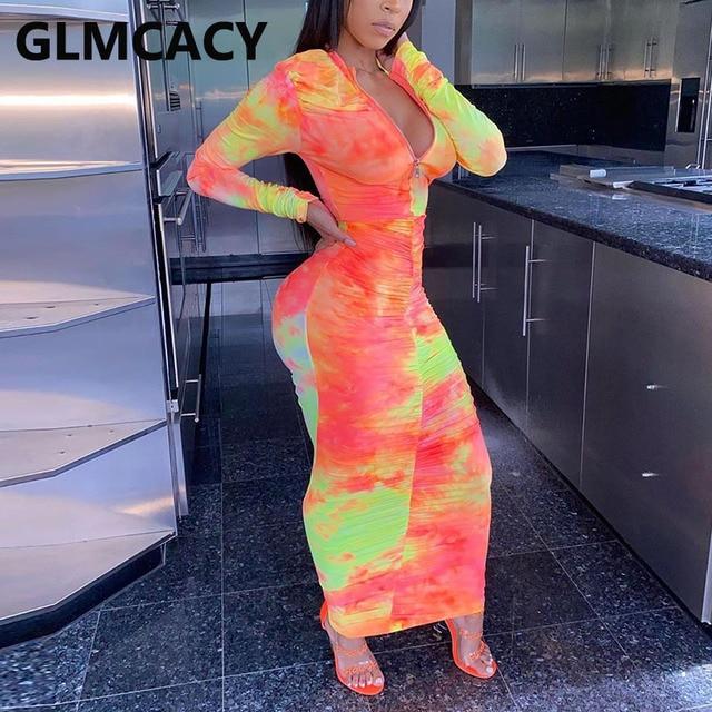 Women Long Sleeve Abstract Printed Bodycon Maxi Dress Slinky Zipper V Neck Dress