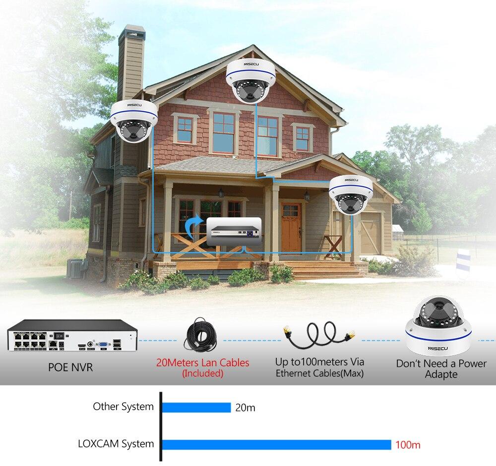 MISECU H.265 8CH 4MP POE Camera Audio CCTV System 5.0MP IP POE Vandal Proof Waterproof Camera Video Security Surveillance Kit