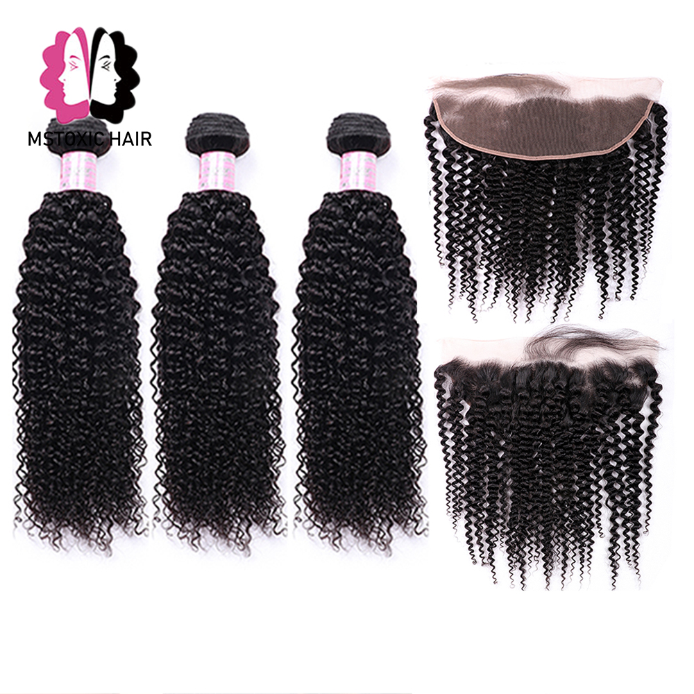 Mstoxic Brazilian Kinky Curly Bundles With Frontal Closure 13x4 Lace Frontal With Bundles Remy Human Hair Bundles With Closure
