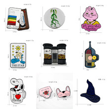 Cartoon Broche Pinnen Tapes Kat Koffie Hond Kasteel Ondergoed Skull Head Shape Broches Denim Shirt Pins Badge Emaille Sieraden(China)